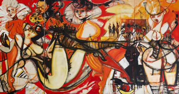 Mariano Rinaldi Goñi, Quilombo, 2019. Triptychon, 200 x 90 + 180 + 90 cm