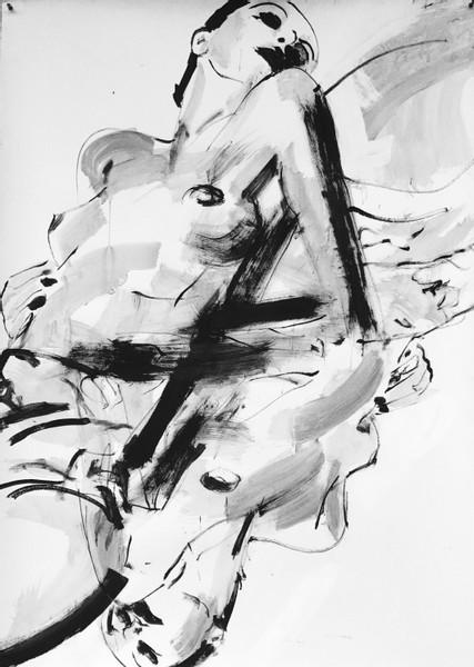 "18) ""Diagonal revolving"", 2017, Pigmente:Papier, 160 x 120 cm"