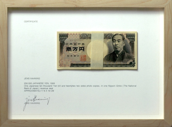 Jens Haaning: 230 000 Japanese Yen, 1999
