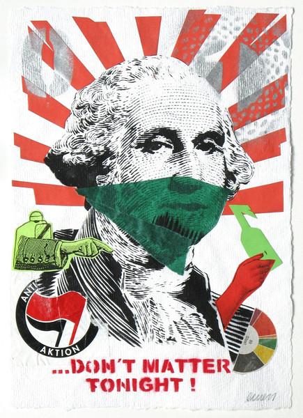 EMESS: Riot – Don't matter tonight!, 2010 Stencil & Print Collage auf handgeschöpftem Papier, 29,7 x 21 cm - Foto: Hermann Büchner
