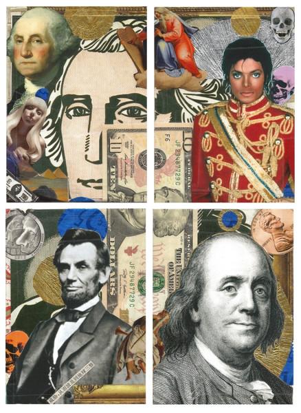 André Boitard: Money – American presidents, 2014 Collage unter Verwendung einer Original-Banknote (10-$-Schein), 4-teilig, je 14,8 × 10,5 cm, Reproduktion: Hermann Büchner