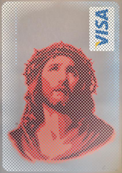 GOD BLESS YOU [Jesus Visa], 2016, 100 × 70 cm, Handsiebdruck, Werkaufnahme: Galerie Kasten, Mannheim