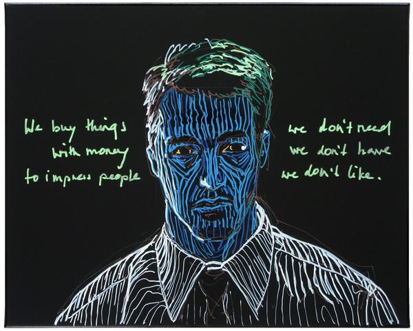 Tyler, 2016, Lackstift und Acryl auf Lackfolie,40 x 50 cm, Foto: Hermann Büchner