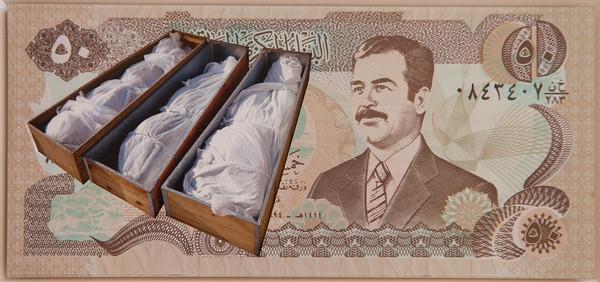 "Carlos Aires, ""Disaster 2 (Iraq Tumbas)"", 2013, Original-Banknote, Digitalprint auf Hahnemühle Papier © Courtesy: MAM Mario Mauroner Contemporary Art Vienna/Salzburg"