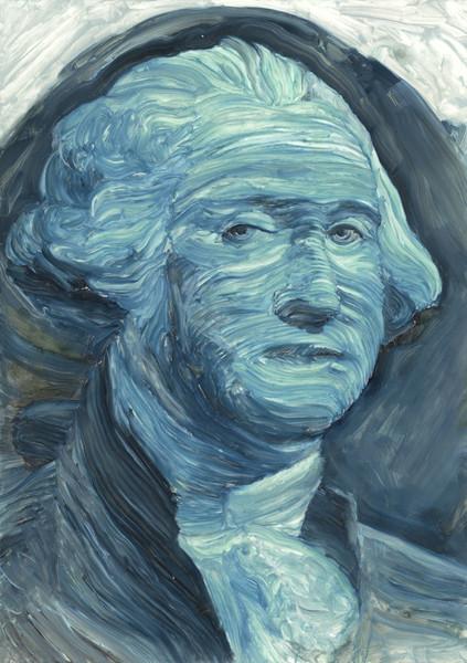 Will Kempkes: Faces in my Pocket: 1 (Washington), 2014 Tusche und Acryl auf beschichtetem Papier, 29,7 × 21 cm, Repro: Hermann Büchner