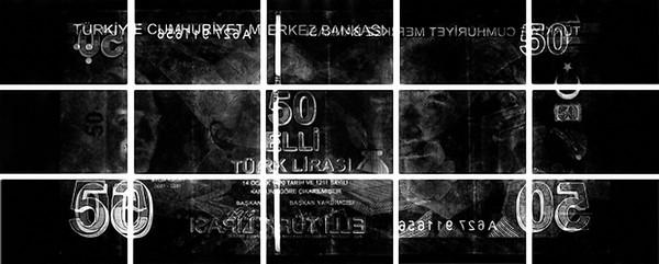 Julia Herfurth: Fatma Aliye, Durchleuchtung eines türkischen 50-Lira-Scheins, 2012 15 Silbergelatineprints, je 16 × 24 cm - Foto: Julia Herfurth