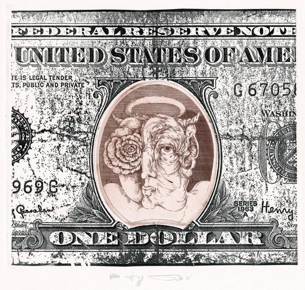WP Eberhard Eggers: Money Of Menomonie – 5 Dollars, 1971, Farbradierung, 44,5 × 34 / 24 × 27 cm, 6/50