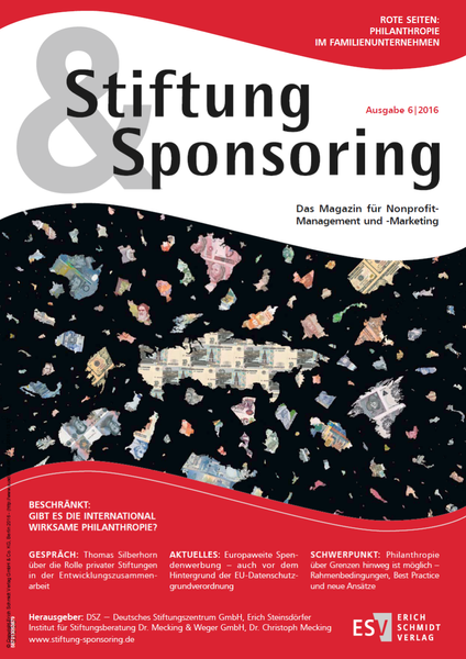 Stiftung&Sponsoring, Ausgabe 6/2016, Cover