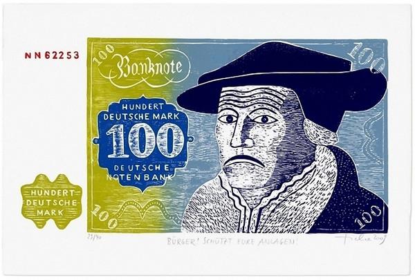 Hans Ticha: Bürger! Schützt eure Anlagen!, 2009 Holzschnitt, fünf Farben, 42 × 63 cm (30 × 56 cm) - Repro: Hermann Büchner, Berlin