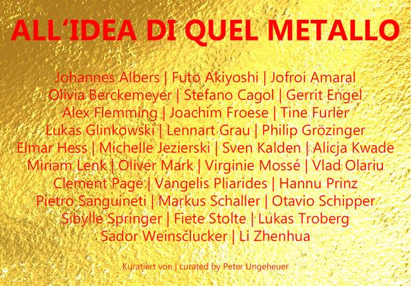 Einladungskarte zur Ausstellung, Vorderseite mit Übersicht der ausstellenden Künstler