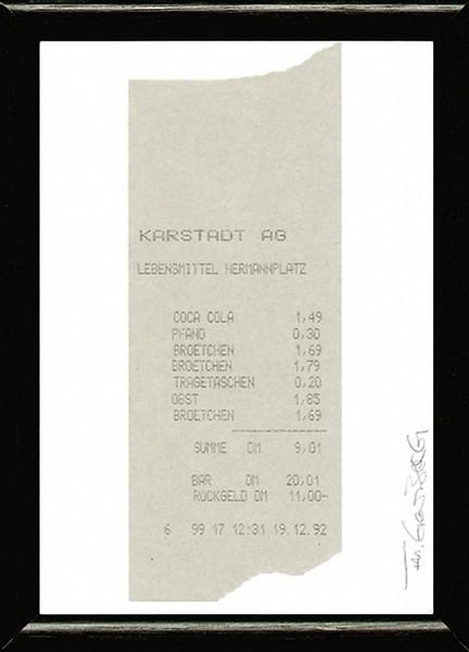 Thorsten Goldberg: Lebensmittelrechnung: o. J. (1992),Original-Kassenbeleg, von Hand beschriftet, 14 × 5,5 (16 × 12) cm, Repro: Hermann Büchner