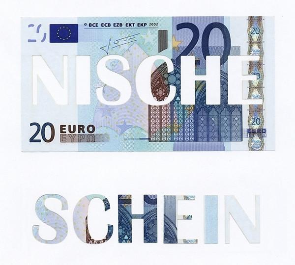 Sebastian Siechold: Schein – Nische, 2012, Original-Banknote (20-Euro-Schein), geschnitten, 7,2 × 13,4 cm - Foto: Hermann Büchner