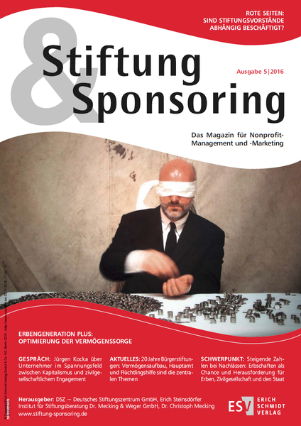 Stiftung&Sponsoring, Ausgabe 5/2016, Cover