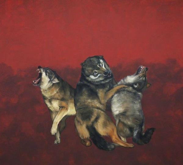 Sigrid Nienstedt, Streitende Wölfe, 2013, Öl/Acryl auf Leinwand, 200 x 220 cm