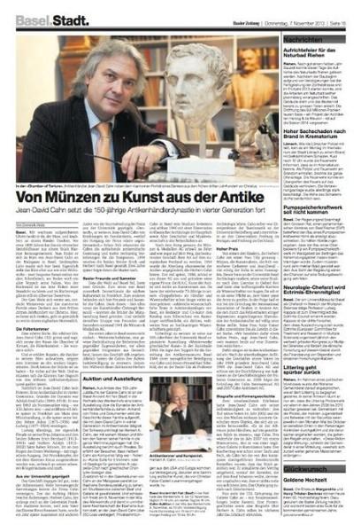 Basler Zeitung 2013_Von Münzen zu Kunst aus der Antike