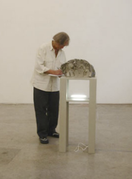 """Jimmie Durham installing the exhibition """"Glass"""", 2007"""