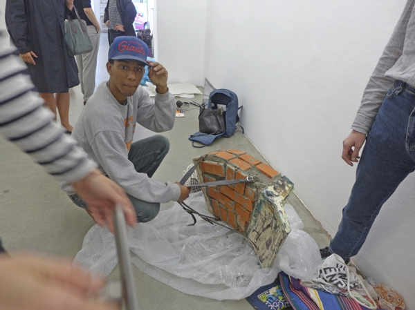 William during exhibition installation, June 2013