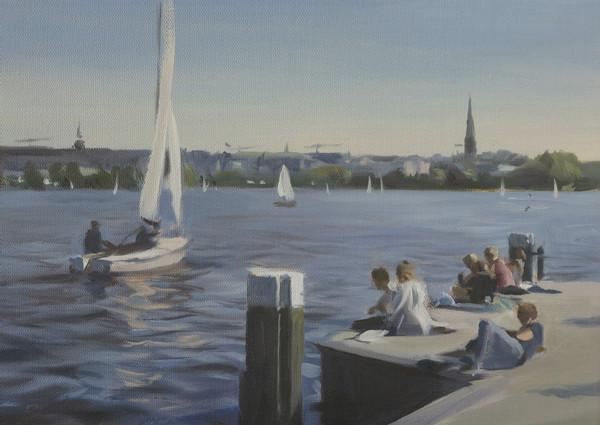 2020 Am Anleger, Alte Rabenstraße, Öl auf Leinwand, 25 x 35 cm