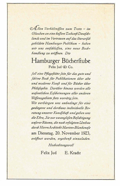 Einladung 1923  Hamburger Bücherstube (C) Firmenarchiv Felix Jud GmbH & Co KG