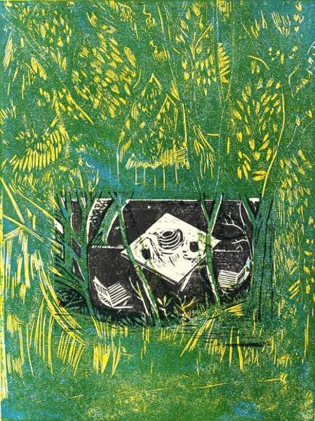 Lukas Weiß . Teatime. 2020. Holzschnitt, Kartondruck, Farbdruck, Druck auf Bütten. 40 X 30 cm. 700 EUR. Galerie Heckenhauer