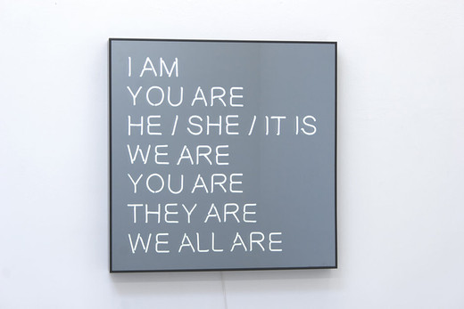 "<span class=""artists work-caption"">Jeppe Hein</span><span class=""title work-caption"">WE ALL ARE</span><span class=""technique work-caption"">powder coated aluminium, neon tube, two-way mirror, powder coated steel, transformers</span><span class=""year work-caption"">2013</span><span class=""dimensions work-caption"">100 x 100 x 10 cm</span><span class=""edition work-caption"">1/3 + 2AP</span>"