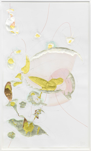 "<span class=""artists work-caption"">Jorinde Voigt</span><span class=""title work-caption"">Positions (Forget Incommunicability)</span><span class=""technique work-caption"">ink, gold leaves, copper foil,oil crayon, pastel, pencil on paper, framed</span><span class=""year work-caption"">2014</span><span class=""dimensions work-caption"">240 x 140 cm</span><span class=""edition work-caption"">unique</span>"
