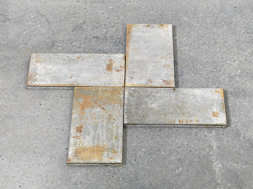 Carl Andre, Quarm, 4 parts, copper, 1990, each 1 x 15 x 30 cm; 3/8 x 5 7/8 x 11 3/4 in Overall 1 x 60 x 60 cm; 3/8 x 23 5/8 x 23 5/8 in, unique
