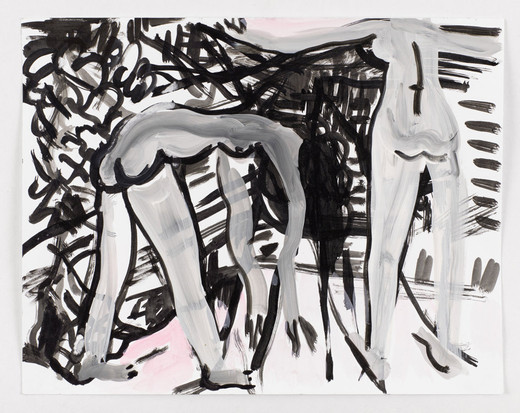 Mira Dancy, On Set, ink and acrylic on canvas, 2015, 27.94 x 35.56 cm