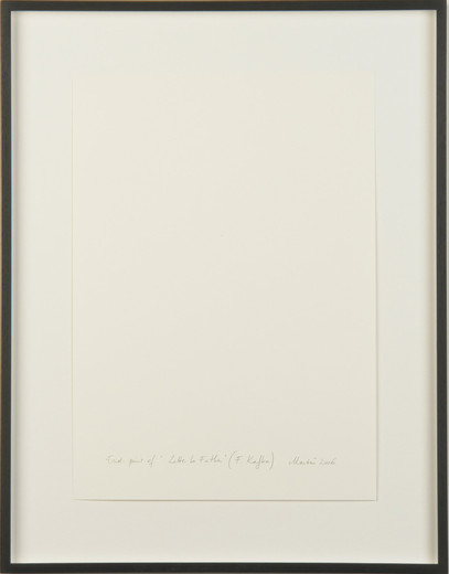 Kris Martin, Endpoint of 'Letter to Father' (F. Kafka), collage and graphiteon paper, 2006, 42 x 29 cm