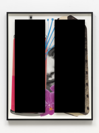 "<span class=""artists work-caption"">Kathryn  Andrews</span><span class=""title work-caption"">Black Bars: Déjeuner No. 18 (Girl with Spray Can, Ice Cream Sandwich, Zip Ties and Orchid)</span><span class=""technique work-caption"">aluminium, Plexiglas, ink, paint</span><span class=""year work-caption"">2017</span><span class=""dimensions work-caption"">153 x 122.50 x 8.30 cm</span><span class=""edition work-caption"">unique</span>"