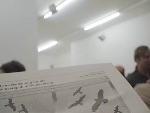 Natascha Sadr Haghighian, Die Krankheiten des Uhus und ihre Bedeutung für die Wiedereinbürgerung in der Bundesrepublik Deutschland [The horned owl's diseases and their significance for its re-naturalisation in the Federal Republic of Germany], sound installation, newspaper, 2003, dimensions variable, Edition of 3