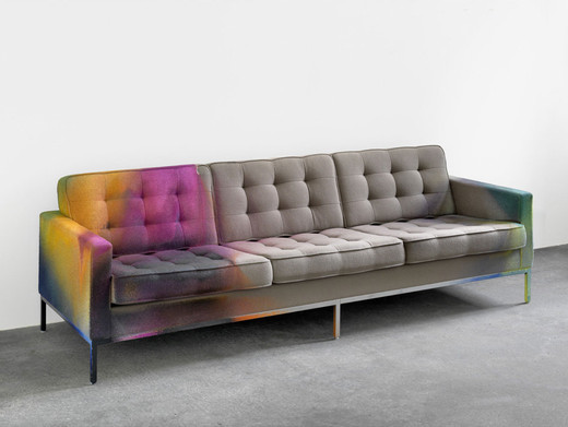 Katharina Grosse, o.T. (Ref: Couch), acrylic on couch, 2012, 80 x 235 x 85 cm, unique