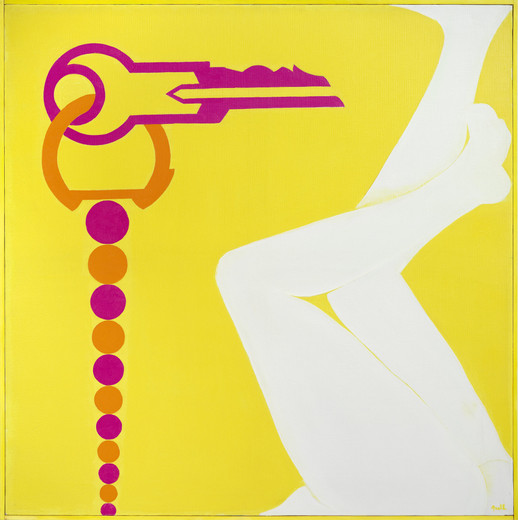 Evelyne Axell, Clef de contact jaune, oil on canvas, artist frame, 1966, 102 x 102 cm, unique