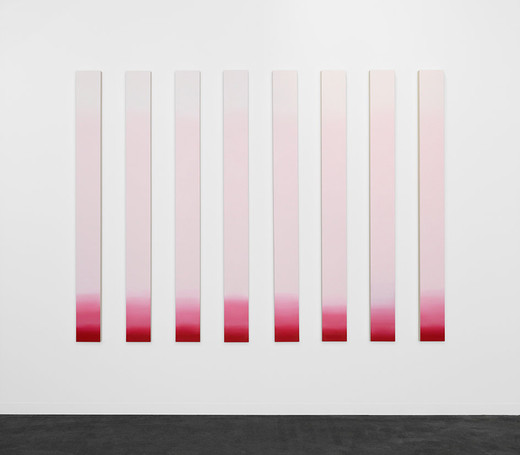 Claudia Comte, Pink Squirrel (Cocktail Paintings), acrylic on canvas, 2017, Each stick 200 x 18 cm Distance between each stick: 18 cm Overall dimensions: 200 x 270 cm, unique