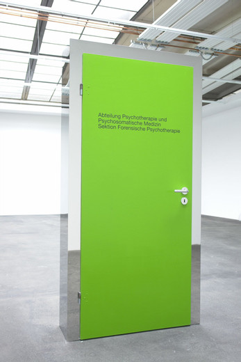Johannes Wohnseifer, Through the green door, acrylic, stainless steel mirror polished, wood, lacquer, vaseline, door handle after Ludwig Wittgenstein, 2007, 208 x 104 x 30 cm, unique