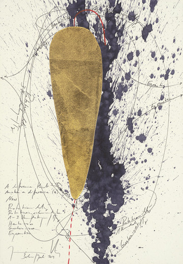 Jorinde Voigt, A Difference that Makes a Difference (4), India ink, gold, pencil on paper, framed, 2014, 26 x 18 cm, unique