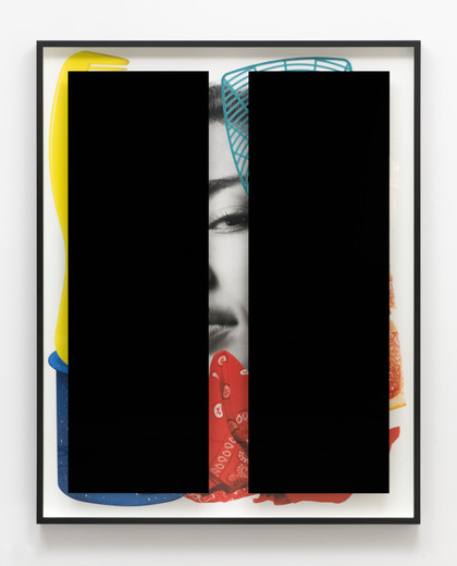 "<span class=""artists work-caption"">Kathryn  Andrews</span><span class=""title work-caption"">Black Bars: Déjeuner No. 14 (Girl with Bandana, Campfire Mug, Comb, Grapefruit Slice and Fly Swatter)</span><span class=""technique work-caption"">aluminium, Plexiglas, ink, paint</span><span class=""year work-caption"">2017</span><span class=""dimensions work-caption"">233.70 x 186.10 x 11.40 cm</span><span class=""edition work-caption"">unique</span>"