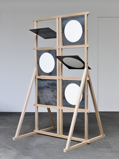 Amalia Pica, Shutter telegraph (as seen on TV), wood, screws, iron, white paint, 2013, 242.5 x 135.2 x 139.2 cm, unique