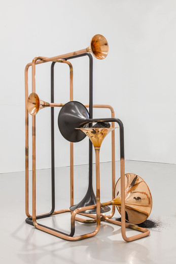 Alicja Kwade, Hypothetisches Gebilde, copper, granite, coal, powder coated steel, 2018, 171.20 x 122.50 x 100 cm, unique