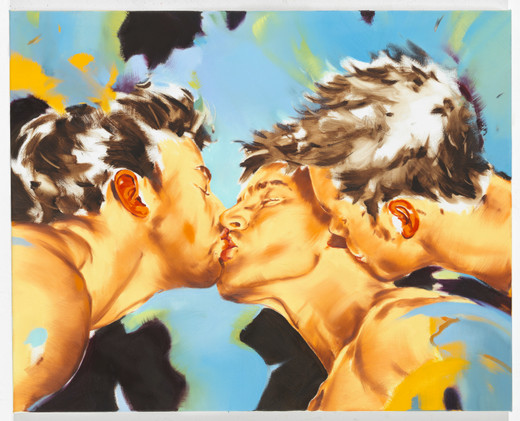 Norbert Bisky, Kiss, oil on canvas, 2018, 80 x 100 x 4.50 cm, Unique