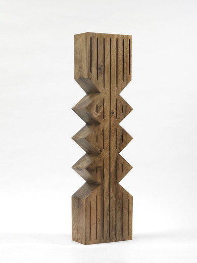 "<span class=""artists work-caption"">Claudia Comte</span><span class=""title work-caption"">Sculpture Object 49: Two Zigzag creates a Totem</span><span class=""technique work-caption"">walnut, spruce plinth, chainsaw carved, black ink and oil</span><span class=""year work-caption"">2016</span><span class=""dimensions work-caption"">Sculpture: 139 x 34 x 19 cm  Plinth: 249 x 135 x 30 cm</span>"