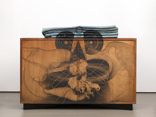 Tatiana Trouvé, Cosmogony, from the series Cosmos, pencil on wood, wood, bronze, paint, 2016, 112 x 66 x 150 cm, unique