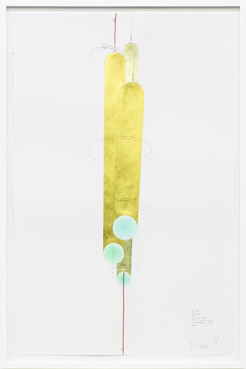 Jorinde Voigt, 3 Tubes, ink, gold leaves, copper foil, oil crayon, pastel, pencil on paper, framed, 2014, 102 x 66 cm, unique