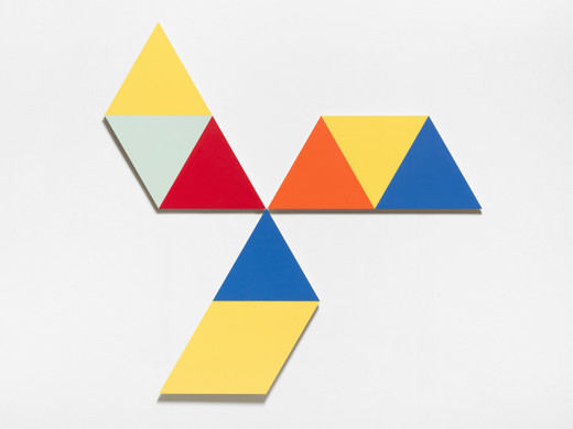 Amalia Pica, Study for Rearranging the conference table 6, formica, birch plywood, 3 parts, 2020, 160 x 140 x 3.2 cm, unique
