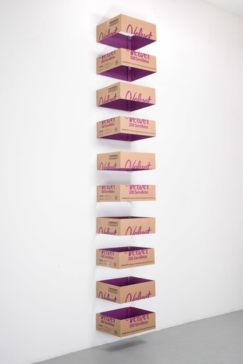 Jose  Dávila, Untitled, cardboard, vinyl paint and bottle caps, 2018, 360 x 52.2 x 43.2 cm, each box 18 x 52.2 x 43.2 cm , unique