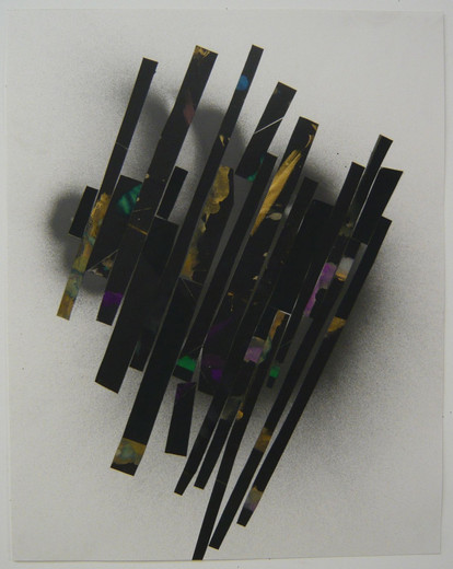 Lecia Dole Recio, Untitled (blk.ppr.spy), gouache, spray paint, latex paint, glue, paper, 2007, 61 x 48.3 cm, unique