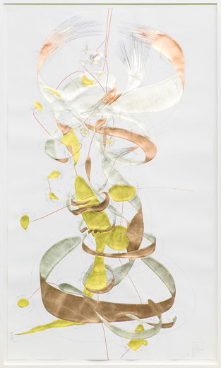 Jorinde Voigt, Position + Inkommunikabilität II, ink, gold leaves, copper foil, oil crayon, pencil on paper, framed, 2014, 240 x 140 cm, unique