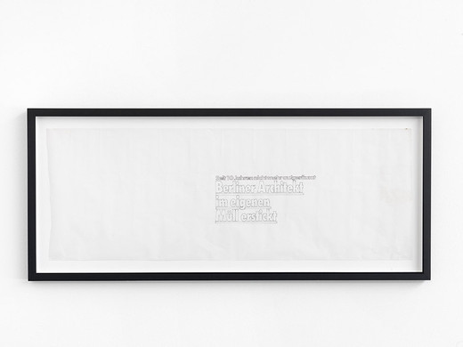 Monica Bonvicini, Untitled (ref: Berliner Architekten), permanent ink on tracing paper, framed, 2002, 33 x 90 cm