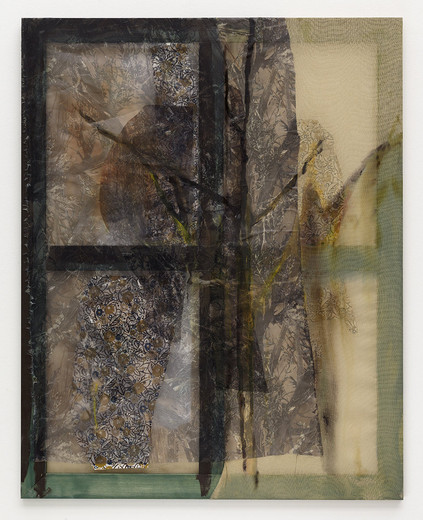 Jessica Jackson Hutchins, Forest Camo (small), wood stain, linen, acrylic ink, leather, wallpaper, 2014, 120 x 94 cm, unique
