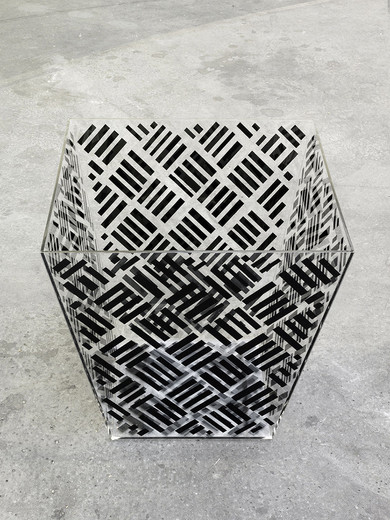 Lisa Lapinski, Basket #2, screenprint on plexi, 2012 - 2013, 56 x 56 x 56 cm, 1/2
